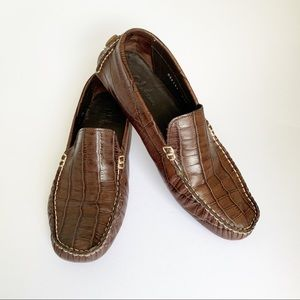 COLE HAAN Crocodile Embossed Driving Moccasins 6.5